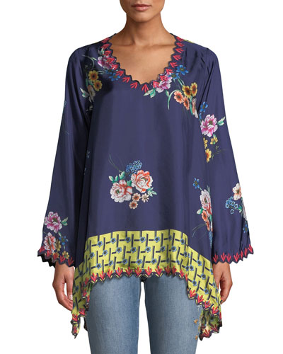 Dinah Silk Twill Floral-Print Long-Sleeve Blouse w/ Embroidered Trim