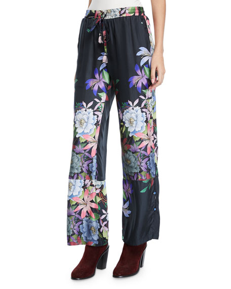 Image 1 of 2: Johnny Was Kelly Floral-Print Pants with Drawstring Waist