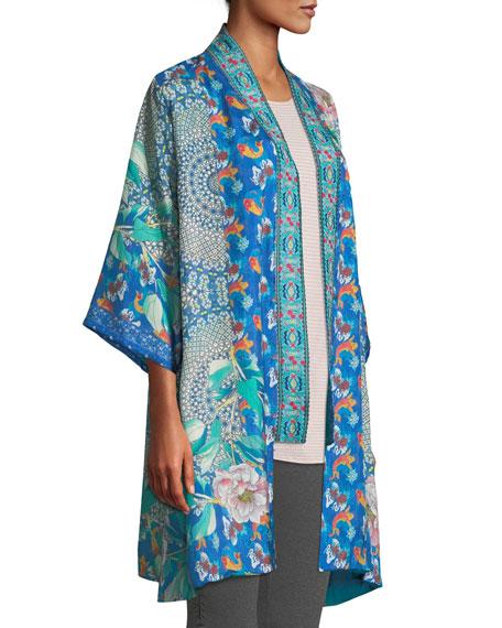 66a8d7f55cb Image 3 of 3  Johnny Was Plus Size Coi Mixed-Print Silk Kimono Jacket