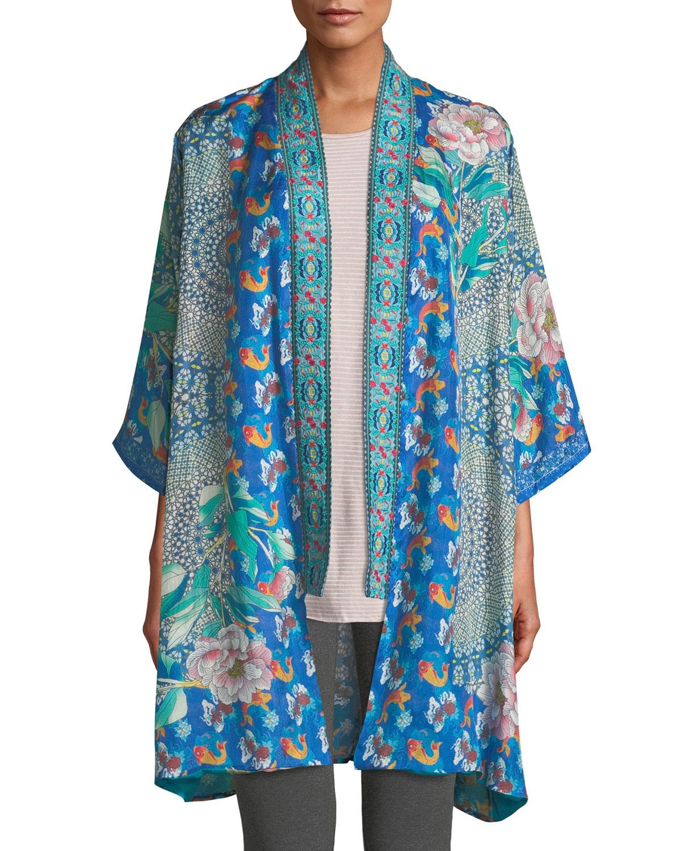 ff3ad23e5ee Johnny Was Plus Size Coi Mixed-Print Silk Kimono Jacket