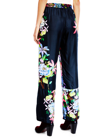 Johnny Was Plus Size Kelly Floral-Print Pants with Drawstring Waist