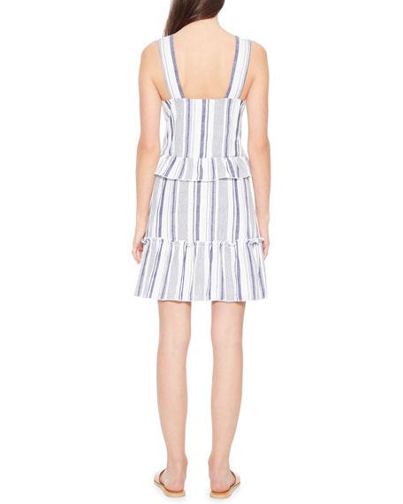 Parker Paradise Striped Ruffle V-Neck Short Dress
