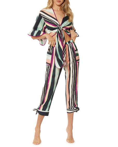 Red Carter Zoey Striped Straight-Leg Cropped Pants with Pockets