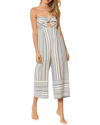 Kimberly Sweetheart Wide-Leg Striped Cotton Jumpsuit w/ Adjustable Straps