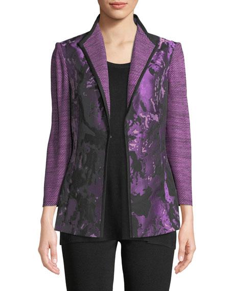 Misook Petite Mixed Media 3/4-Sleeve Jacquard Jacket