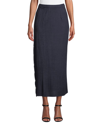 Petite Side-Button Midi Skirt
