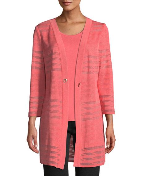 Misook Plus Size Subtle Striped Long Jacket