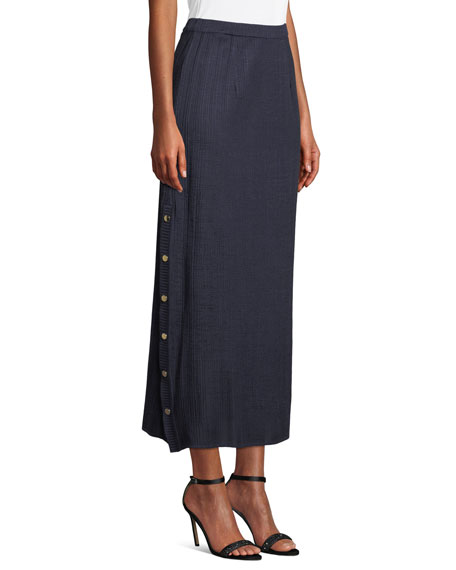 Misook Side-Button Midi Skirt