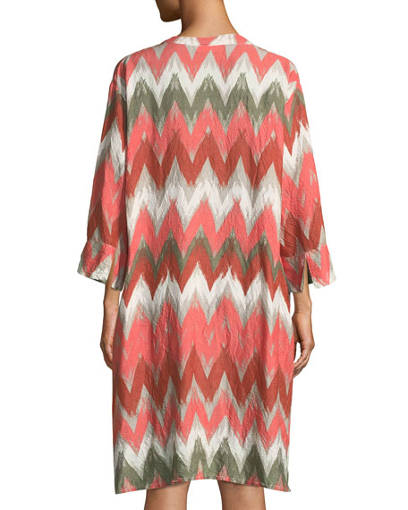 Masai Long Zigzag-Print Shantung Long Jacket