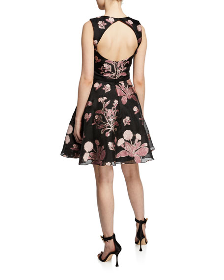 Marchesa Notte Metallic Floral-Embroidered Sleeveless Cocktail Dress w/ Back Cutout