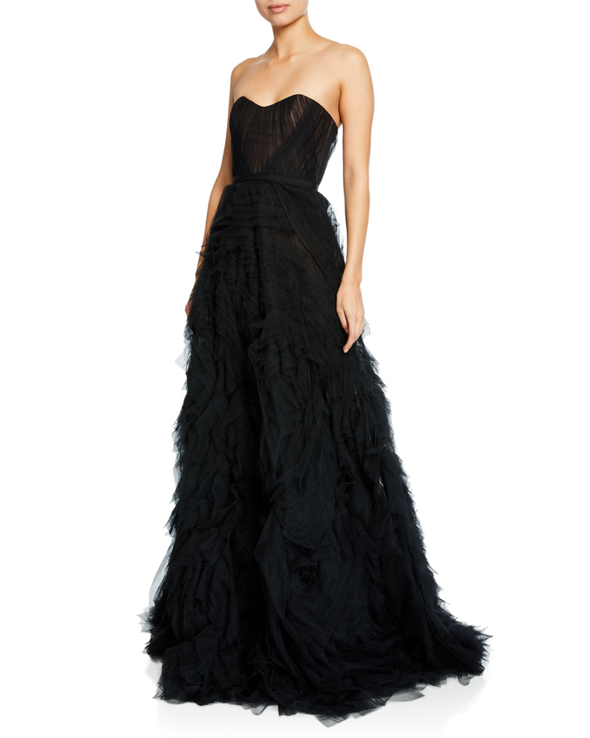 8ce1aec0 Marchesa Notte Strapless Textured Tulle A-Line Gown w/ Corset Bodice ...