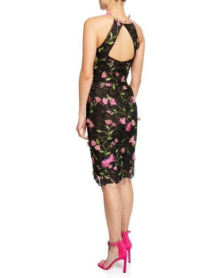 Marchesa Notte Halter Floral-Embroidered Guipure Lace Dress w/ Cutout Back & 3D Flowers