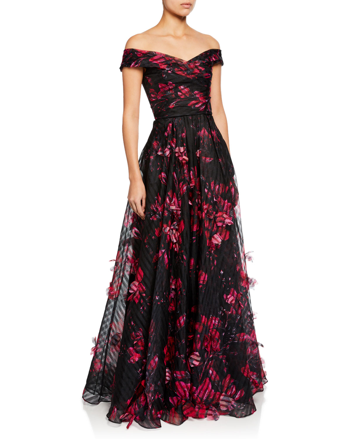 dc27c9fc4f7 Marchesa Notte Off-the-Shoulder Floral-Printed Striped Organza Gown w  3D