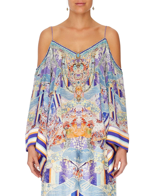a173765b521b2 Camilla Flare-Sleeve Printed Cold-Shoulder Silk Top