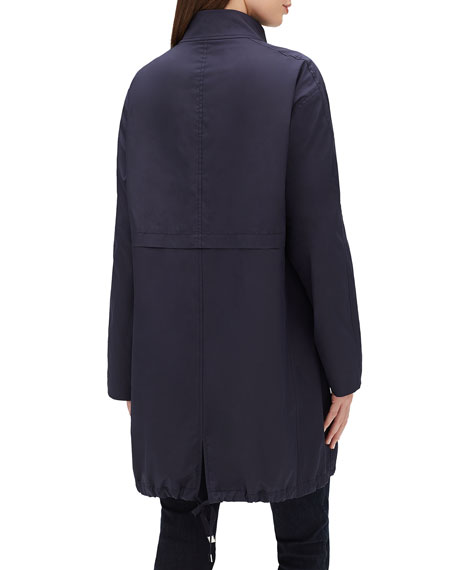 Lafayette 148 New York Minerva Stand-Collar Zip-Front Long-Sleeve Jacket