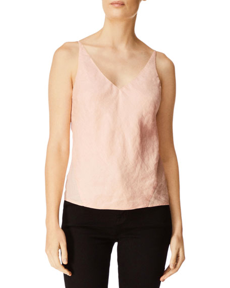 J Brand Lucy V-Neck Linen Camisole Top