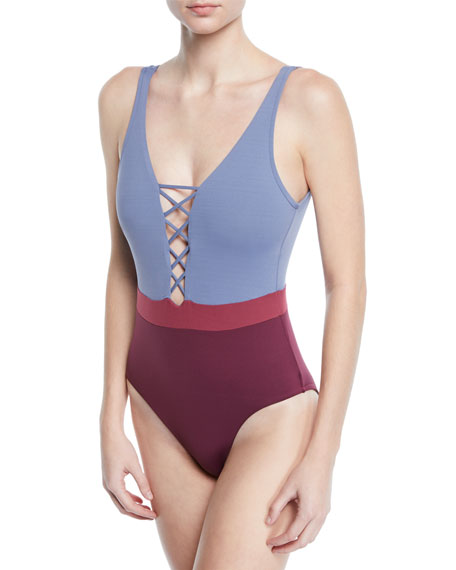 Seafolly Radiance Lace-Up Colorblock One-Piece Swimsuit