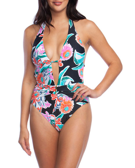 Trina Turk Tropic Wave Plunging Halter One-Piece Swimsuit