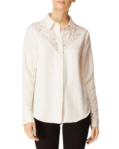 Lula Button-Front Long-Sleeve Lace Inset Shirt