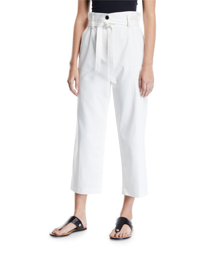 Cropped Paperbag Straight-Leg Pants