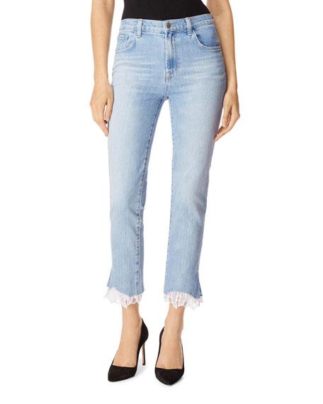 J Brand Jeans RUBY HIGH-RISE CROPPED CIGARETTE JEANS W/ LACE HEM