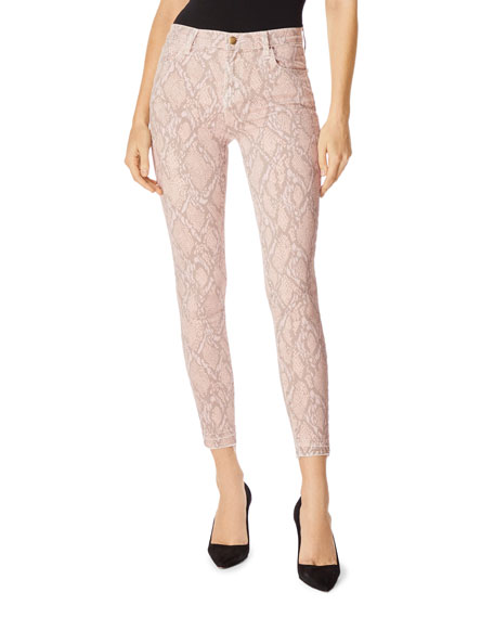 J Brand Jeans ALANA HIGH-RISE CROPPED SNAKE-PRINT JEANS