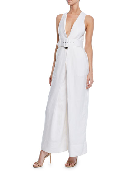 Shona Joy Gaia Sleeveless Plunge-Neck Wide-Leg Jumpsuit w/ Belt