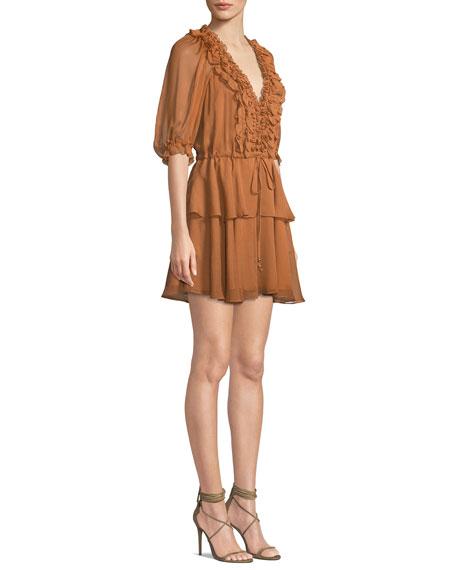 Shona Joy Ambra Fit-and-Flare Puff-Sleeve Ruffle Dress