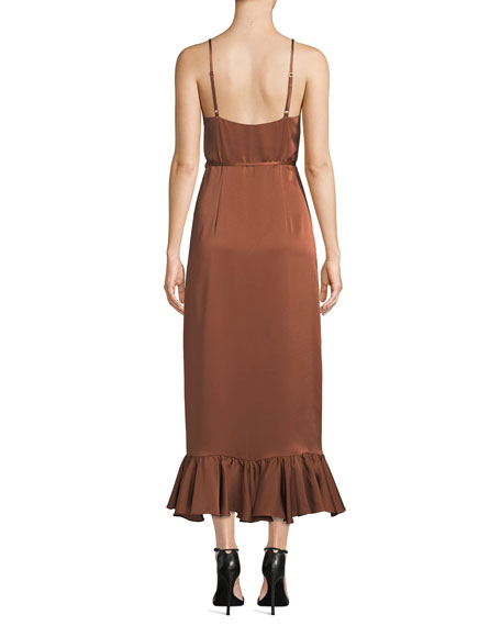 Shona Joy Oro Sleeveless Surplice Satin Wrap Dress w/ Ruffle Trim & Hem
