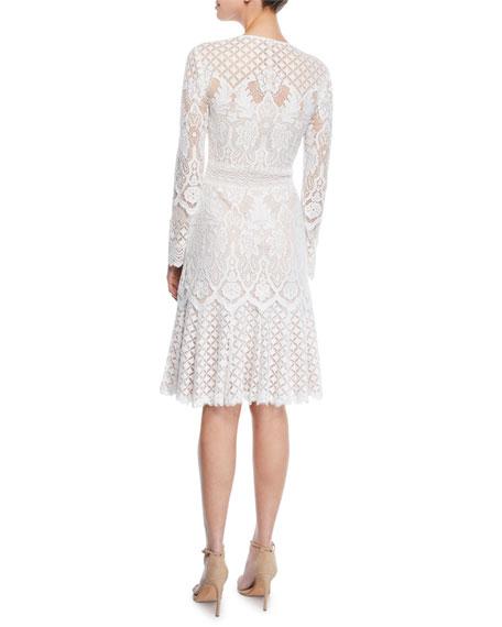 Tadashi Shoji Crewneck Long-Sleeve Tiered Lace A-Line Dress