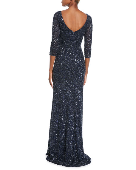 Theia Bateau-Neck Sequin 3/4-Sleeve Scooped-Back Gown