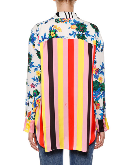 MSGM Amulet Roses Patterned Button-Down Blouse