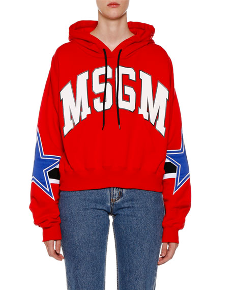 MSGM Cropped Logo Hooded Pullover Sweatshirt
