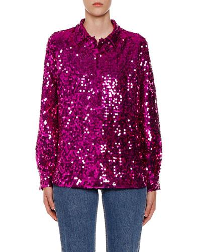 Sequin Long-Sleeve Shirt