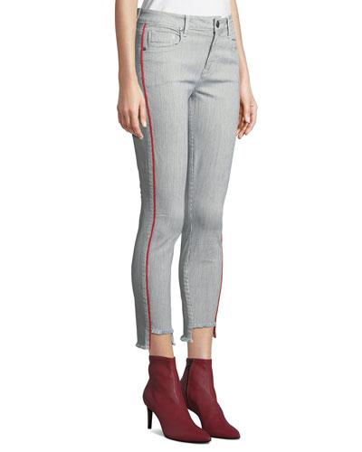 Twisted Seam Skinny Step-Hem Mid-Rise Jeans