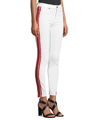 Ava Mid-Rise Ankle Skinny Jeans with Side Ribbon
