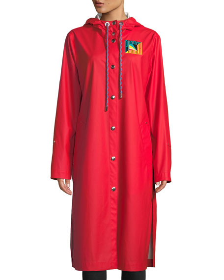 Hooded Snap-Front Long Raincoat