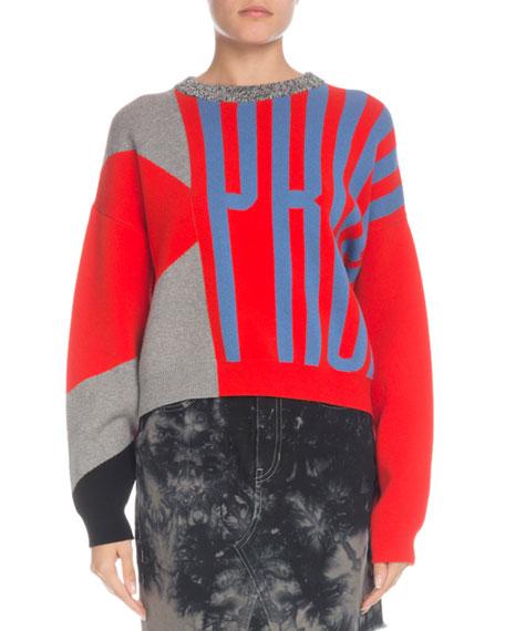 Knit Logo Colorblock Crewneck Pullover Sweater