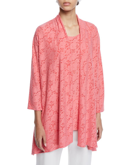 Image 1 of 2: Caroline Rose Petite Rose Garden 3/4-Sleeve Side-Fall Cardigan