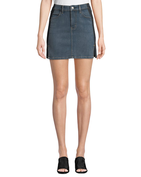 Current/Elliott The Mashed Two-Tone Denim Mini Skirt