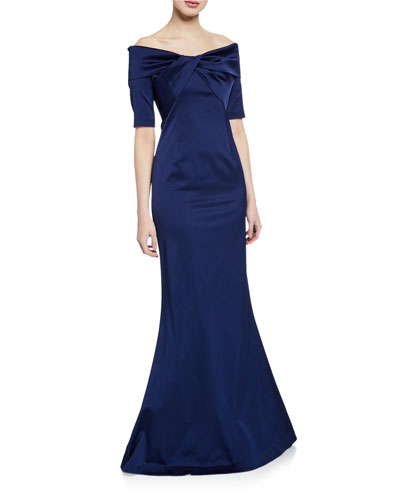 Off-the-Shoulder Elbow-Sleeve Stretch Satin Mermaid Gown w/ Twist Detail