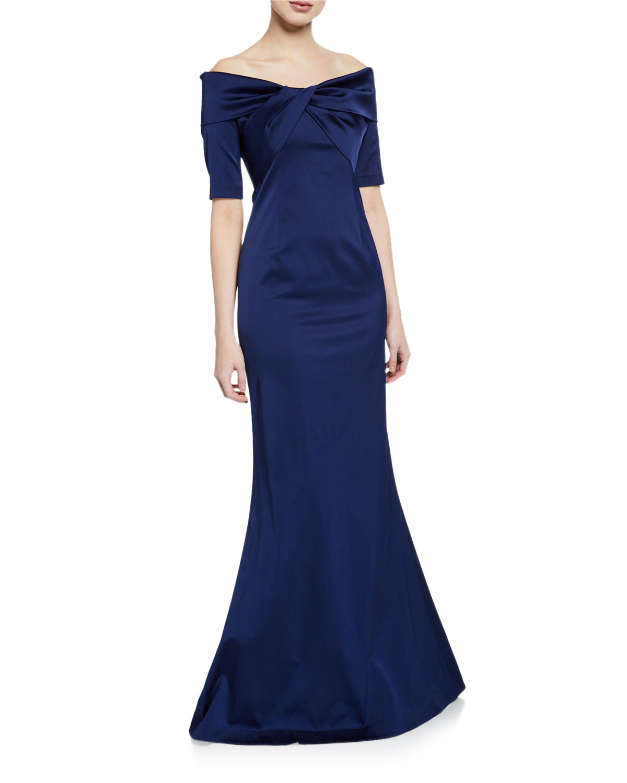 2472cd78ac785 Rickie Freeman for Teri JonOff-the-Shoulder Elbow-Sleeve Stretch Satin  Mermaid Gown w  Twist Detail
