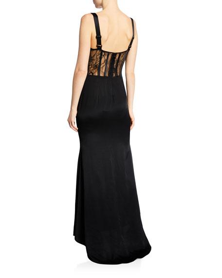 Donna Mizani Sweetheart Sleeveless Macro-Lace Corset Inset Gown