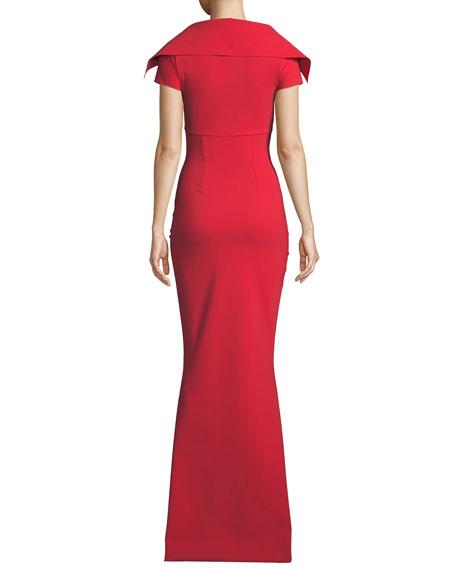 Chiara Boni La Petite Robe Aurellina Collared Cap-Sleeve Gown