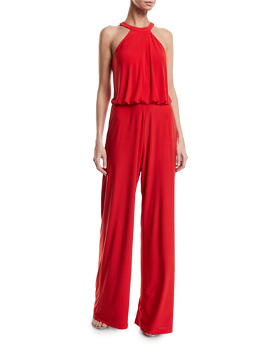 Anselm Halter-Neck Column Gown w/ Keyhole Front