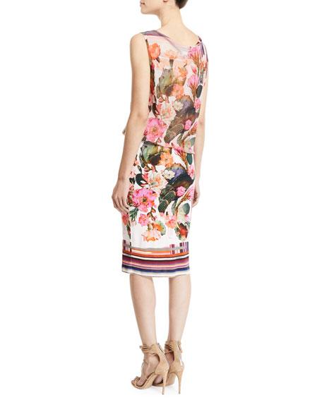 Fuzzi Sleeveless Tulle Top Cactus-Print Jersey Tank Dress