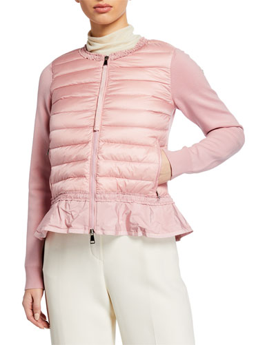 Puffer-Front Knit Cardigan