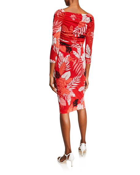 Fuzzi Pink Floral-Print Surplus 3/4-Sleeve Body-Con Dress