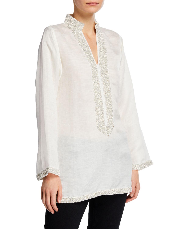 Bella Tu V-Neck Long-Sleeve Pearly Embellished Tunic – White
