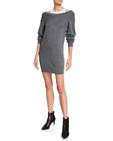 alexanderwang.t Ribbed Off-Shoulder Mini Sweater Dress with Tank